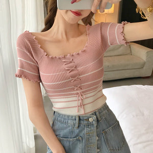 KOREAN KNIT CORSET STRIPED CROP TOP (6 COLORS)