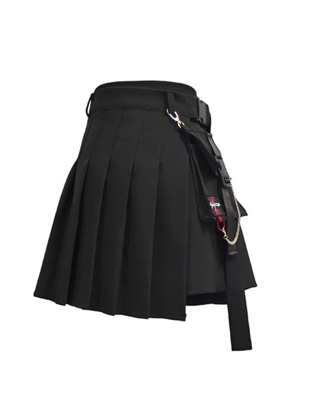 Harajuku Streetstyle Detachable Belt Pocket Skirt (Black/Grey)