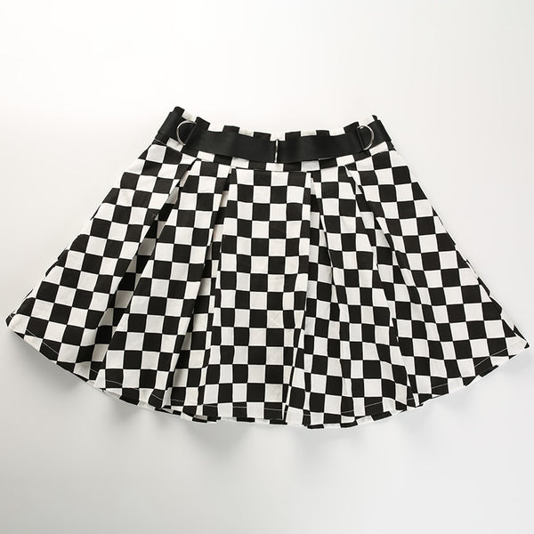 Harajuku Pleated Checkered Skirt With Belt