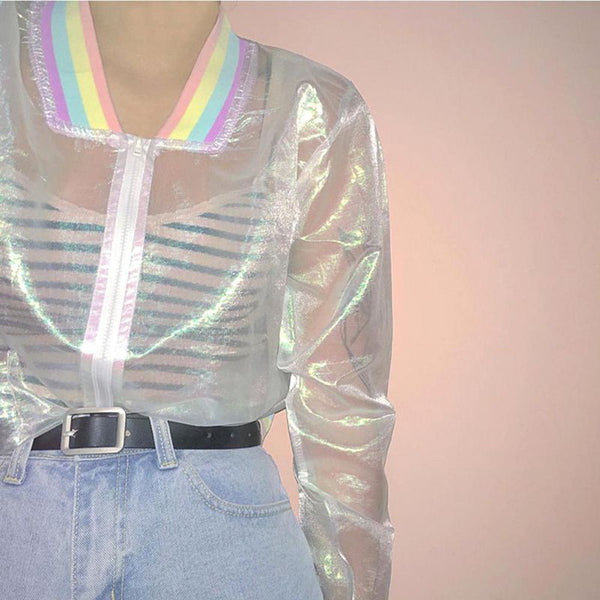 Harajuku Sheer Holographic Rainbow Collar Jacket