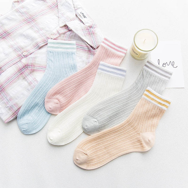 Harajuku Pastel Double Stripe Ankle Socks