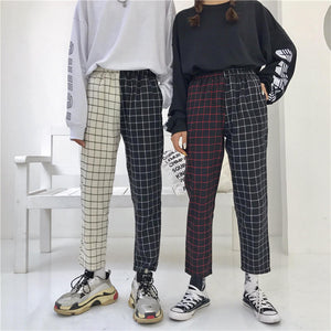 Korean Style Mismatched Plaid Pants