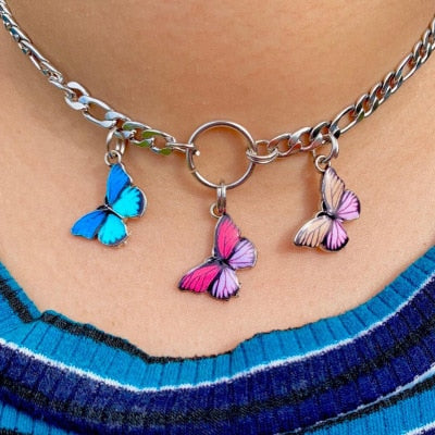 HARAJUKU KOREAN STREET STYLE TRIPLE BUTTERFLY CHAIN NECKLACE