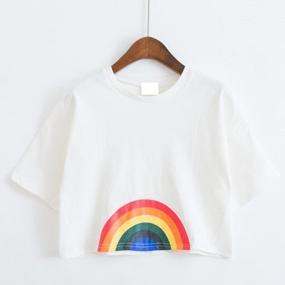 Harajuku Rainbow Crop Top (White/Blue)