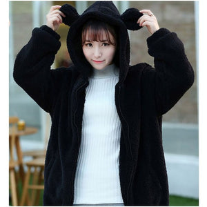 HARAJUKU SOFT TEDDY BEAR EARS ZIPPER HOODIE (BLACK/WHITE/BROWN)