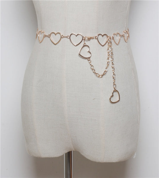 HARAJUKU HEART CHAIN BELT (GOLD/SILVER)