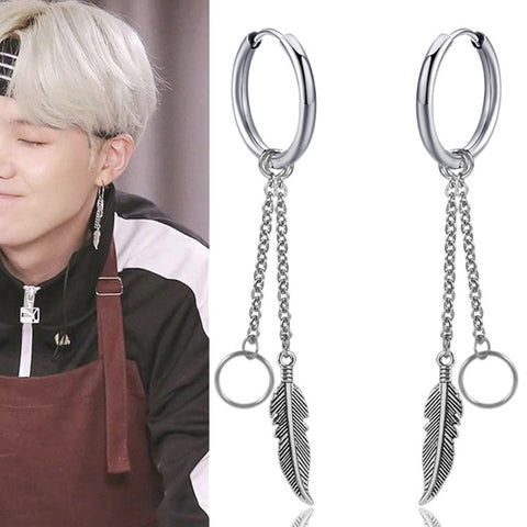 BTS Suga Feather Earrings