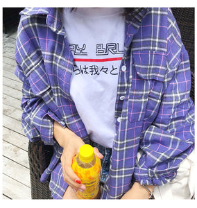 Korean Style Oversized Plaid Shirt (Purple/Red)