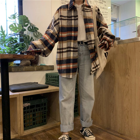 Harajuku Ulzzang Oversized Plaid Flannel Button Up Shirt (2 Colors)
