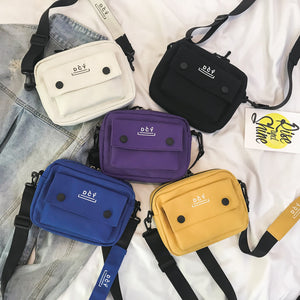 Harajuku Canvas Shoulder Bag With Front Pocket (5 Colors)