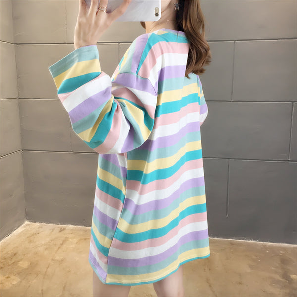Harajuku Pastel Rainbow Embroidered Long Sleeve Tee
