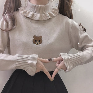 HARAJUKU SOFT SISTER BEAR TURTLENECK KNIT SWEATER