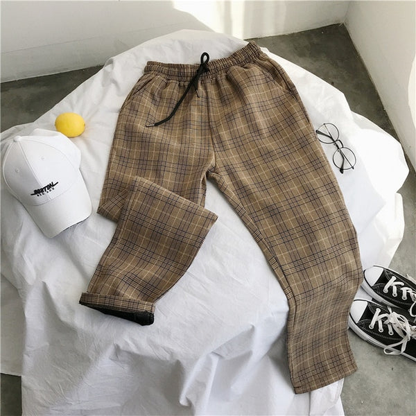 Korean Style Casual Plaid Drawstring Pants (4 Colors)