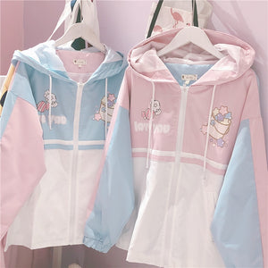 HARAJUKU PASTEL KAWAII PRINTED WINDBREAKER JACKET (PINK/BLUE)