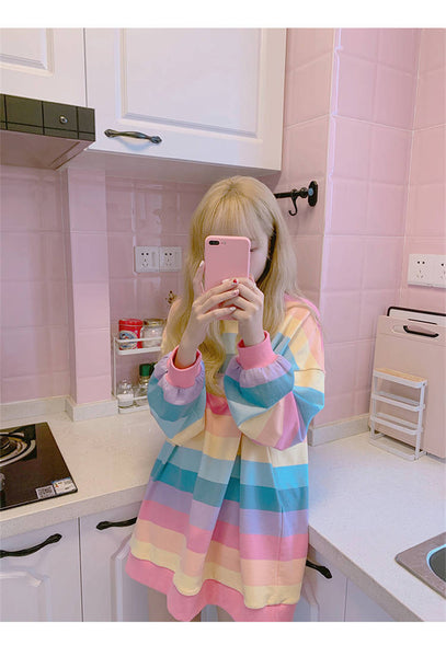 HARAJUKU CANDY STRIPED LONG SLEEVE T-SHIRT