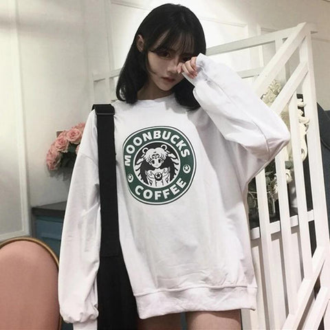 Harajuku Moonbucks Coffee Sailor Moon Sweatshirt