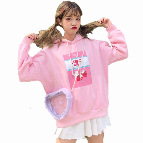 Harajuku Strawberry Milk Hoodie (Pink/Blue)