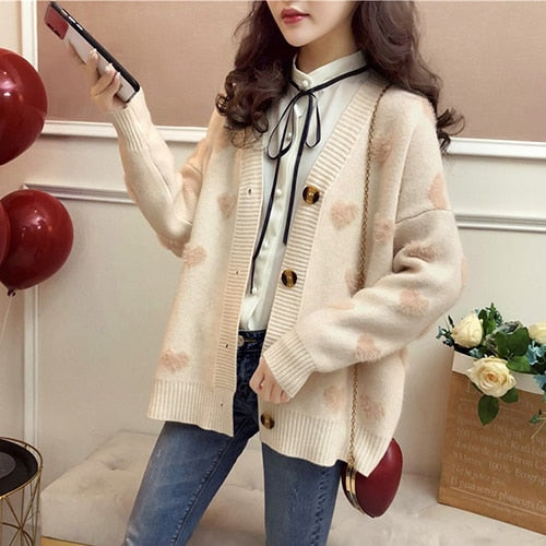 HARAJUKU FAUX FUR HEARTS CARDIGAN (5 COLORS)