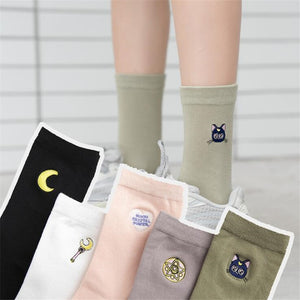 HARAJUKU SAILOR MOON EMBROIDERED SOCKS