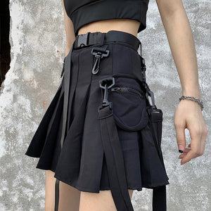 Harajuku Streetstyle Tactical Utility Skirt (Black/Grey)