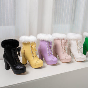 Harajuku Kawaii Gyaru Faux Fur Laceup Ankle Boots (6 Colors)