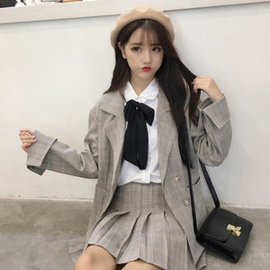 Korean Ulzzang Two Piece Set Plaid Suit (Grey)