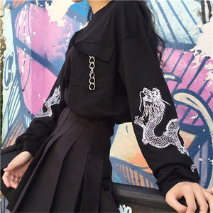 Harajuku Embroidered Sleeve Dragon Sweatshirt (Black/Blue)
