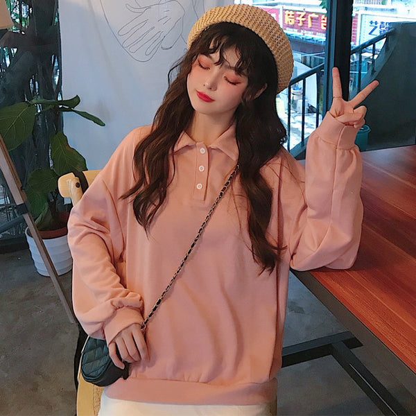Korean Style Plain Long Sleeve Polo Tshirt (Pink/Grey)