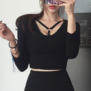 Harajuku Chest Strap Crop Top (Black)