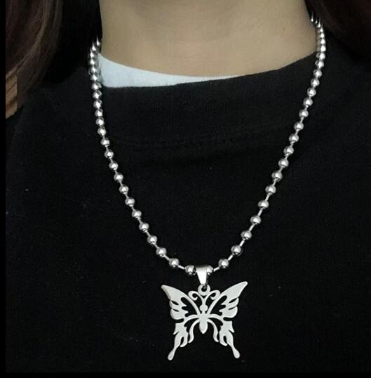 Harajuku Korean Streetstyle Ball Chain Butterfly Necklace