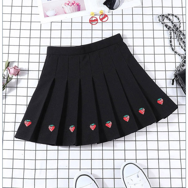Harajuku Strawberry Pleated Tennis Skirt (3 Colors)