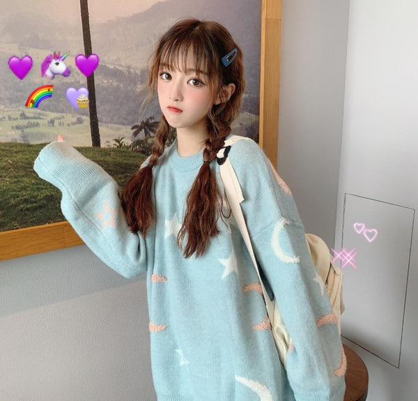 Harajuku Moon And Stars Knit Sweater (3 Colors)