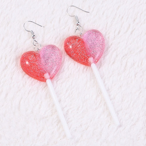 HARAJUKU HEART LOLLIPOP EARRINGS (4 STYLES)