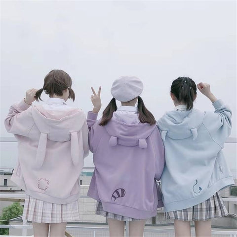 HARAJUKU BEST FRIEND PASTEL ANIMAL HOODIE (3 COLORS)