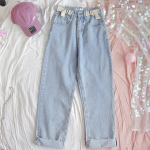 Harajuku Double Belt Mom Jeans
