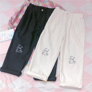 Harajuku Bear Embroidered Mom Jeans (Black/White)