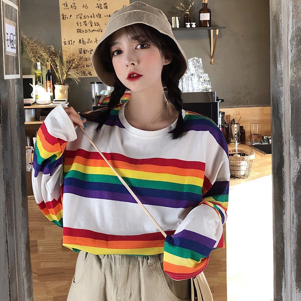 Harajuku Long Sleeve Rainbow White T-shirt
