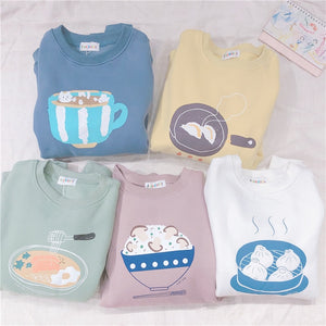 Harajuku Ulzzang Asian Food Pastel Sweatshirt (5 Colors)