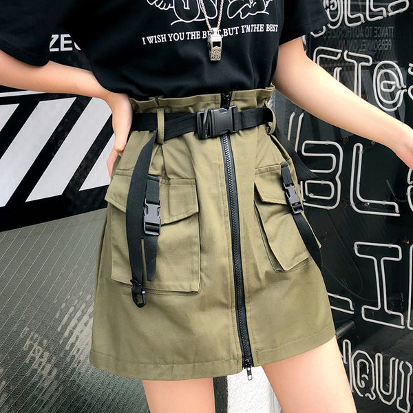 HARAJUKU ZIPPER BELT STRAP UTILITY SKIRT