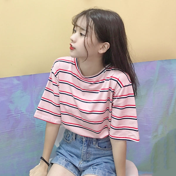Harajuku Ulzzang Pastel Striped T-shirt (6 Colors)