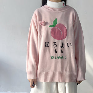 Harajuku Kawaii Peach Knit Sweater