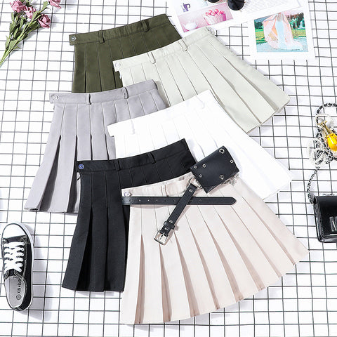 Korean Style Leather Pocket Belt Tennis Skirt (5 Colors)