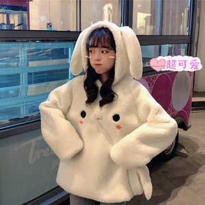 HARAJUKU FLUFFY BUNNY FACE HOODIE (PINK/WHITE)