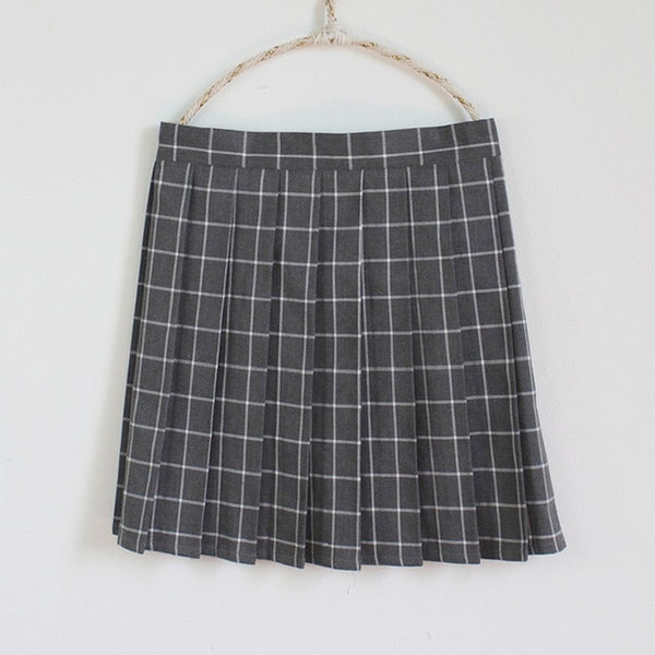 Plus Size Harajuku Kawaii Fashion Pastel Plaid Pleated Tennis Skirt (13 Colors)