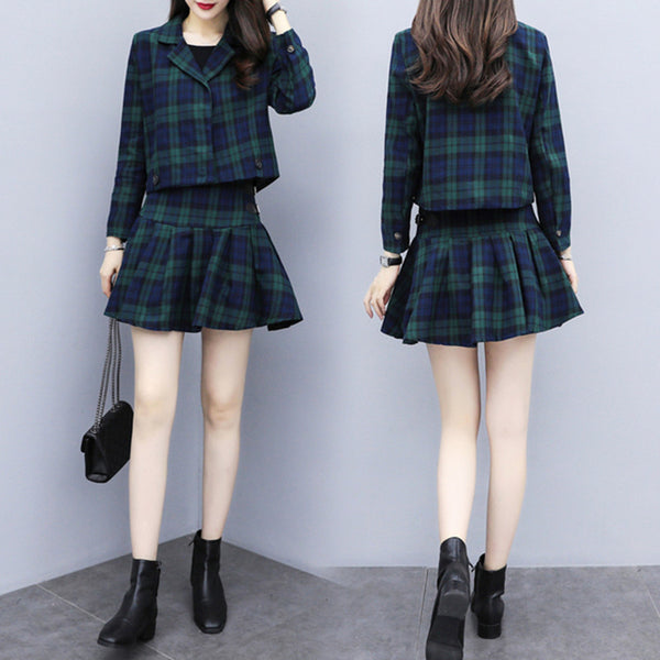 Korean Ulzzang Two Piece Set Plaid Suit (Green/Navy)
