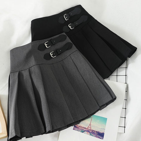 Harajuku Double Belt Pleated Tennis Skirt (Grey/Black)