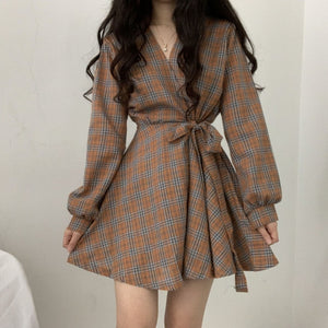 Korean Style Fall Plaid Mini Dress (3 Colors)