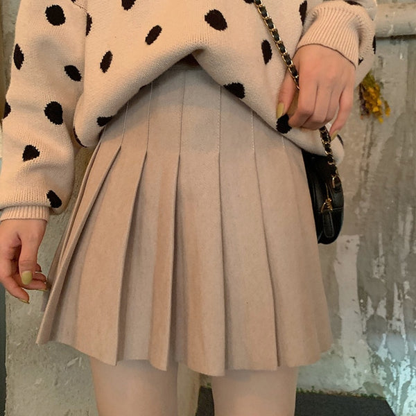 Kawaii Fashion Essential Harajuku Beige Pleated Tennis Skirt