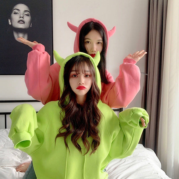 Harajuku Oversized Best Friend Devil Horns Hoodie (5 Colors) BFCM Special Price