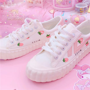 Harajuku Kawaii Pastel Strawberry Sneakers